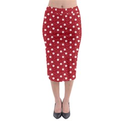 Floral Dots Red Midi Pencil Skirt