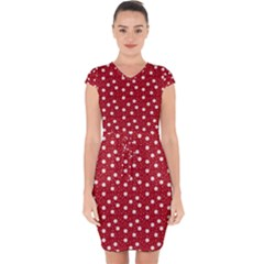 Floral Dots Red Capsleeve Drawstring Dress