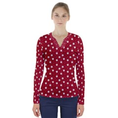 Floral Dots Red V Neck Long Sleeve Top
