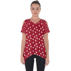 Floral Dots Red Cut Out Side Drop Tee