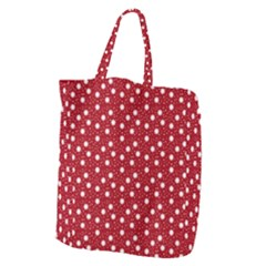 Floral Dots Red Giant Grocery Zipper Tote
