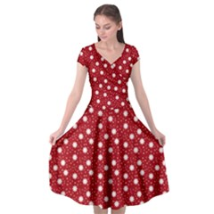 Floral Dots Red Cap Sleeve Wrap Front Dress