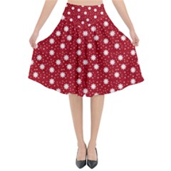 Floral Dots Red Flared Midi Skirt