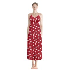 Floral Dots Red Button Up Chiffon Maxi Dress