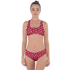 Floral Dots Red Criss Cross Bikini Set