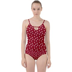 Floral Dots Red Cut Out Top Tankini Set