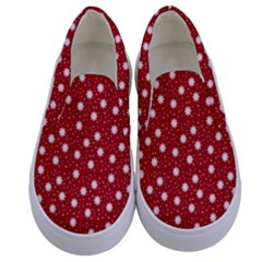 Floral Dots Red Kids  Canvas Slip Ons