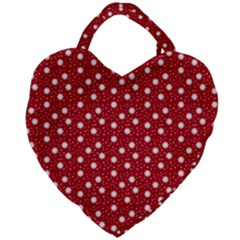 Floral Dots Red Giant Heart Shaped Tote