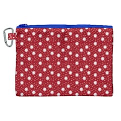 Floral Dots Red Canvas Cosmetic Bag (xl)