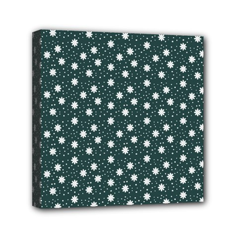 Floral Dots Teal Canvas Travel Bag