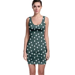 Floral Dots Teal Bodycon Dress