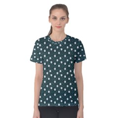 Floral Dots Teal Women s Cotton Tee