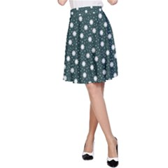 Floral Dots Teal A Line Skirt