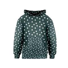 Floral Dots Teal Kids  Pullover Hoodie