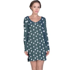 Floral Dots Teal Long Sleeve Nightdress