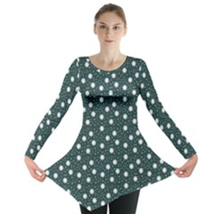 Floral Dots Teal Long Sleeve Tunic