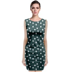 Floral Dots Teal Classic Sleeveless Midi Dress