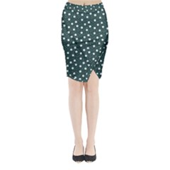 Floral Dots Teal Midi Wrap Pencil Skirt