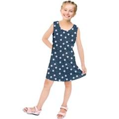 Floral Dots Teal Kids  Tunic Dress
