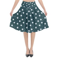 Floral Dots Teal Flared Midi Skirt