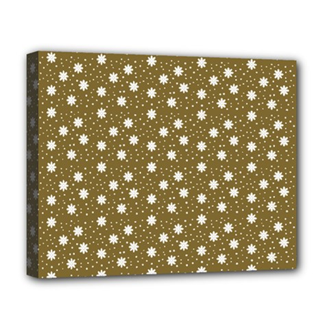 Floral Dots Brown Deluxe Canvas 20  X 16
