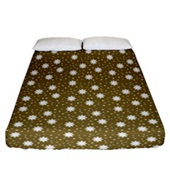 Floral Dots Brown Fitted Sheet (queen Size)