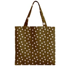 Floral Dots Brown Zipper Grocery Tote Bag