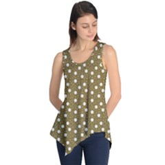 Floral Dots Brown Sleeveless Tunic