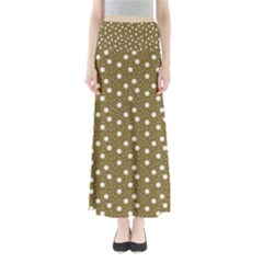 Floral Dots Brown Full Length Maxi Skirt