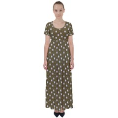 Floral Dots Brown High Waist Short Sleeve Maxi Dress
