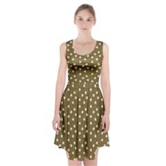 Floral Dots Brown Racerback Midi Dress