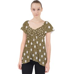 Floral Dots Brown Lace Front Dolly Top