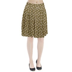 Floral Dots Brown Pleated Skirt
