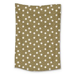 Floral Dots Brown Large Tapestry