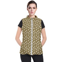 Floral Dots Brown Women s Puffer Vest