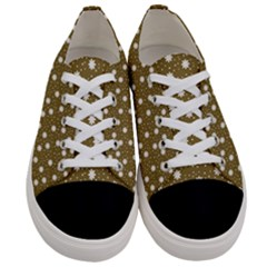 Floral Dots Brown Women s Low Top Canvas Sneakers