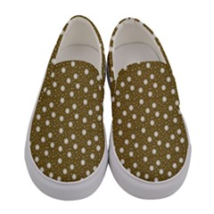 Floral Dots Brown Women s Canvas Slip Ons