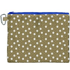 Floral Dots Brown Canvas Cosmetic Bag (xxxl)
