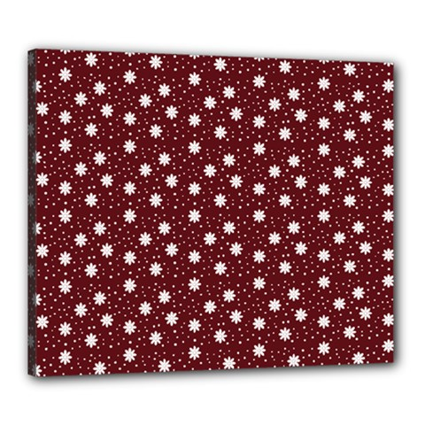 Floral Dots Maroon Canvas 24  X 20