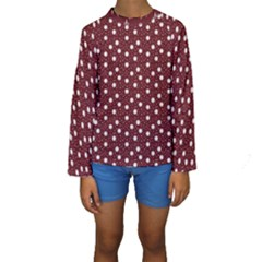 Floral Dots Maroon Kids  Long Sleeve Swimwear