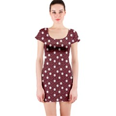 Floral Dots Maroon Short Sleeve Bodycon Dress