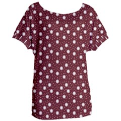 Floral Dots Maroon Women s Oversized Tee