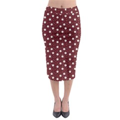 Floral Dots Maroon Midi Pencil Skirt