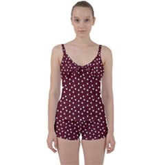 Floral Dots Maroon Tie Front Two Piece Tankini