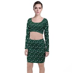 Dinosaurs Green Long Sleeve Crop Top & Bodycon Skirt Set