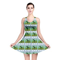 Dino In The Mountains Blue Reversible Skater Dress