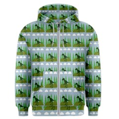 Dino In The Mountains Blue Men s Zipper Hoodie