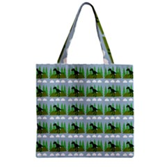 Dino In The Mountains Blue Zipper Grocery Tote Bag