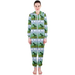 Dino In The Mountains Blue Hooded Jumpsuit (ladies)