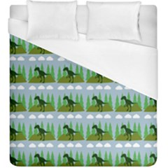 Dino In The Mountains Blue Duvet Cover (king Size)